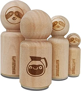 Cute Kawaii Caffeinated Coffee Pot Rubber Stamp for Stamping Crafting Planners - 1/2 Inch Mini