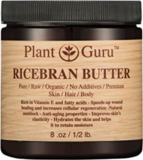 Ricebran Body Butter 8 oz. 100% Pure Raw Fresh Natural Cold Pressed. Skin Body and Hair Moisturizer, DIY Creams, Balms, Lotions, Soaps.