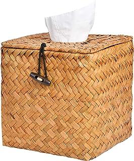 Akamino Tissue Box Cover Square Woven Facial Tissue & Napkin Holder Pumping Paper Case Dispenser for Home Office Car Decor...