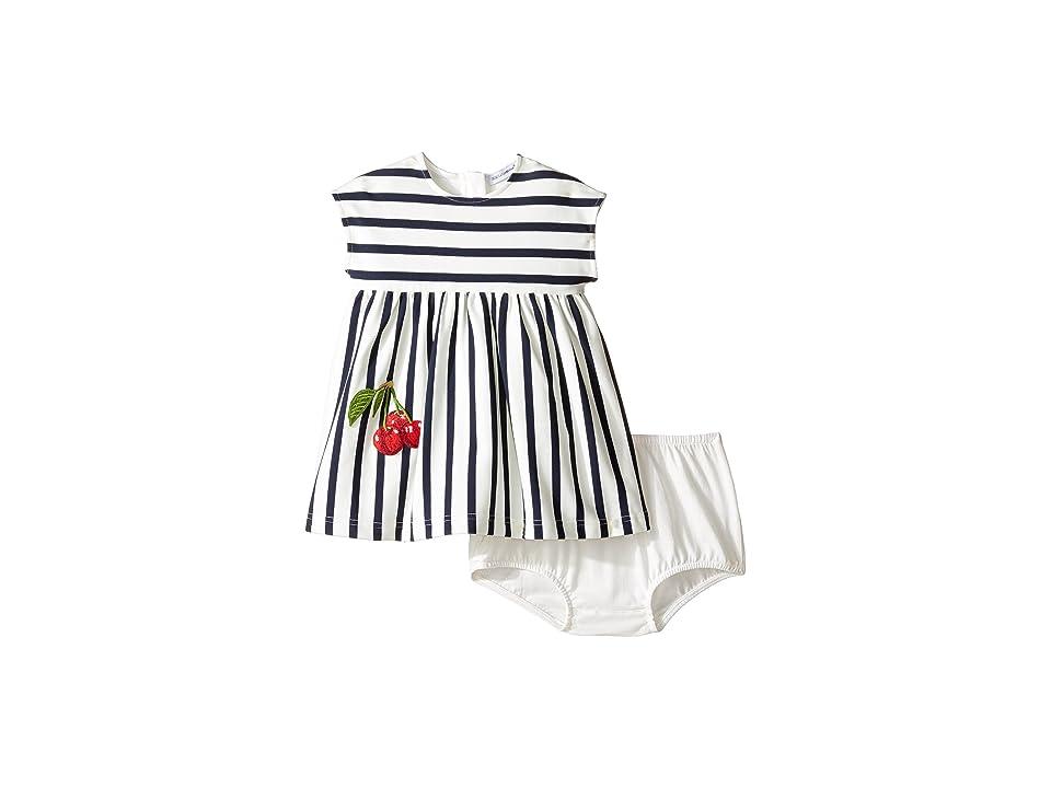 Dolce & Gabbana Kids Stripe Cherry Dress (Infant) (Blue/White) Girl