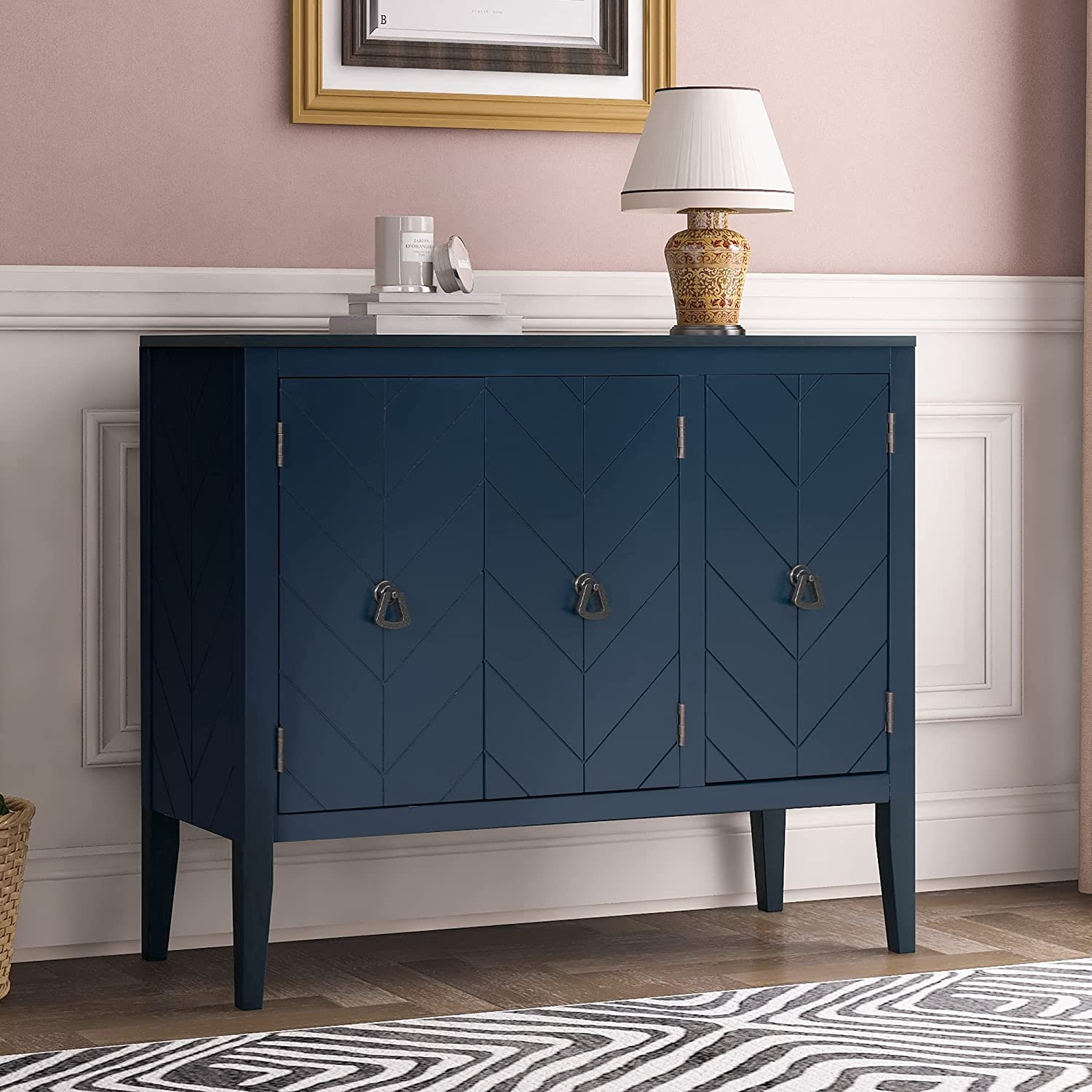 Don't miss the campaign Knocbel Over item handling Antique Storage Cabinet with and Shelf Adjustable Doors
