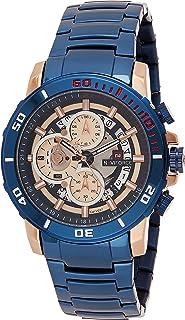 ساعة انالوج كلاسيكية من نافي فورس للرجال بسوار ستانلس ستيل ومينا ازرق- NF9174-RGBE