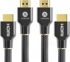 4K HDMI Cable 6ft (2-Pack) - Atevon High Speed 18Gbps HDMI 2.0 Cable - HDCP 2.2-4K HDR, 3D, 2160P, 1080P, Ethernet - 28AWG Braided HDMI Cord - Audio Return Compatible TV, PC, Blu-ray Player