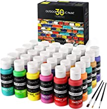 Magicfly Outdoor Acrylic Paint, 30 Colors (60ml, 2oz.) Patio Paints with 3 Paint Brushes, Rich Pigments with White, Gold, ...