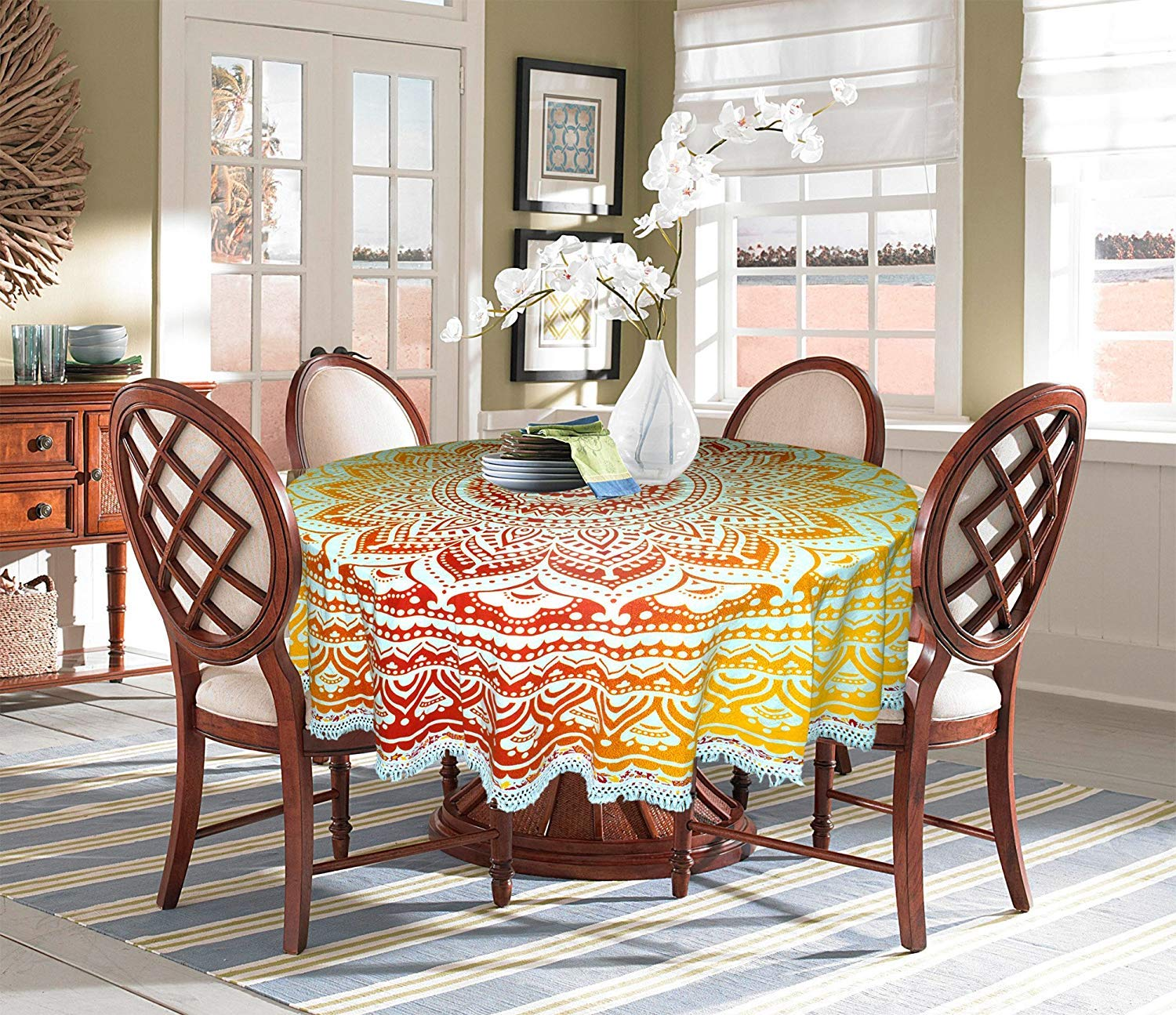 Buy FIRNU Round Dining Table Cover 9 Cotton Traditional Ethnic ...