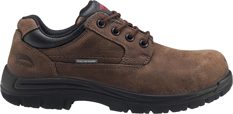 Avenger Work Boots Men's 7118 Foreman Composite Toe Waterproof EH Oxford Work Shoe Boot, Brown, 9.5 Wide