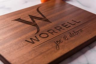 Personalized Custom Cutting Board with Monogram, Custom Wedding Gift for Couple