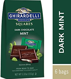Ghirardelli Chocolate Squares, Dark and Mint Filled, 5.32 Ounce, Pack of 6