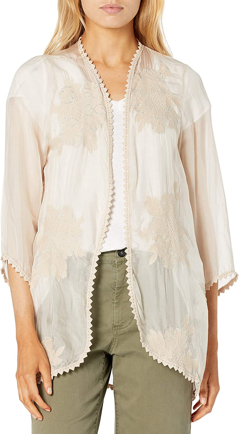 M Made in Italy Women's Embroidered Floral Silky Cardigan