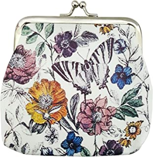 Mehrunnisa Women's White Cute Flowers and Butterfly Coin Purse