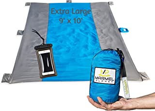Beach Blanket 9'x10' Lightweight Sand Proof Repels Water Dries Fast Durable Fits 7 Persons Outdoor Activities Mat Machine Washable