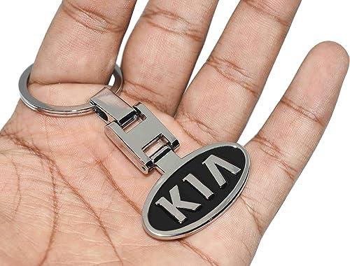 Incognito-7 3D Laxury KIA Logo Keychain KIA Key Ring KIA Key Bunch KIA Key Chain for KIA Cars - Metal (Black)