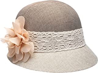 Epoch Women's Gatsby Linen Cloche Hat with Lace Band and Flower