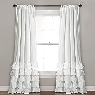 Lush Decor Allison Ruffle Curtains-Window Panel Drapes Set for Living, Dining Room, Bedroom (Pair), 84