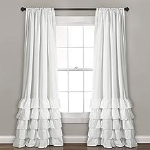 "Lush Decor Allison Ruffle Curtains-Window Panel Drapes Set for Living, Dining Room, Bedroom (Pair), 84"" x 40"", White"