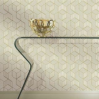 RoomMates RMK10704WP Metallic Gold Striped Hexagon Peel and Stick Wallpaper