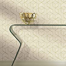 "RoomMates Gold and White Stripped Hexagon Peel and Stick Wallpaper, 20.5"" x 16.5 feet - RMK10704WP"