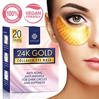 20 Pairs Under Eye Mask Patches, 24k Gold Anti-Aging Eye Bags Treatment Pads with Collagen and Hyaluronic Acid Serum for Reducing Wrinkles and Puffy Eyes