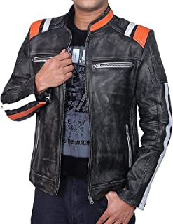Men's Cafe Racer Vintage Style Motorcycle Leather Jacket   Vintage Cafe Racer Jacket