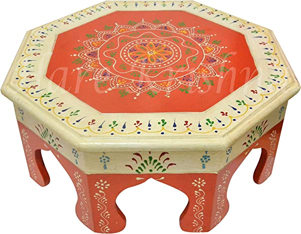 Handmade Painted Round Wooden Chowki Pooja Special Chowki White And Orange 14 X 14 X 6 Inches
