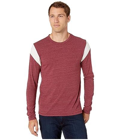 Alternative Long Sleeve Shoulder Stripe Tee (Eco True Currant/Eco Ivory) Men