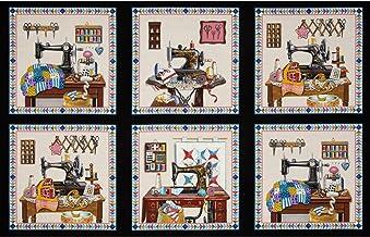 Elizabeth's Studio Stitch In Time Sewing Patchwork Panel, Black