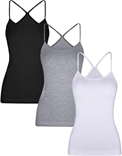 BOAO 3 Pieces Women Camisoles Seamless Basic Stretch Cami Y-Back Spaghetti Strap Tank Tops, 3 Colors