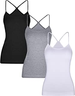 3 Pieces Women Camisoles Seamless Basic Stretch Cami with Y-back Spaghetti Strap Tank Tops, 3 Colors