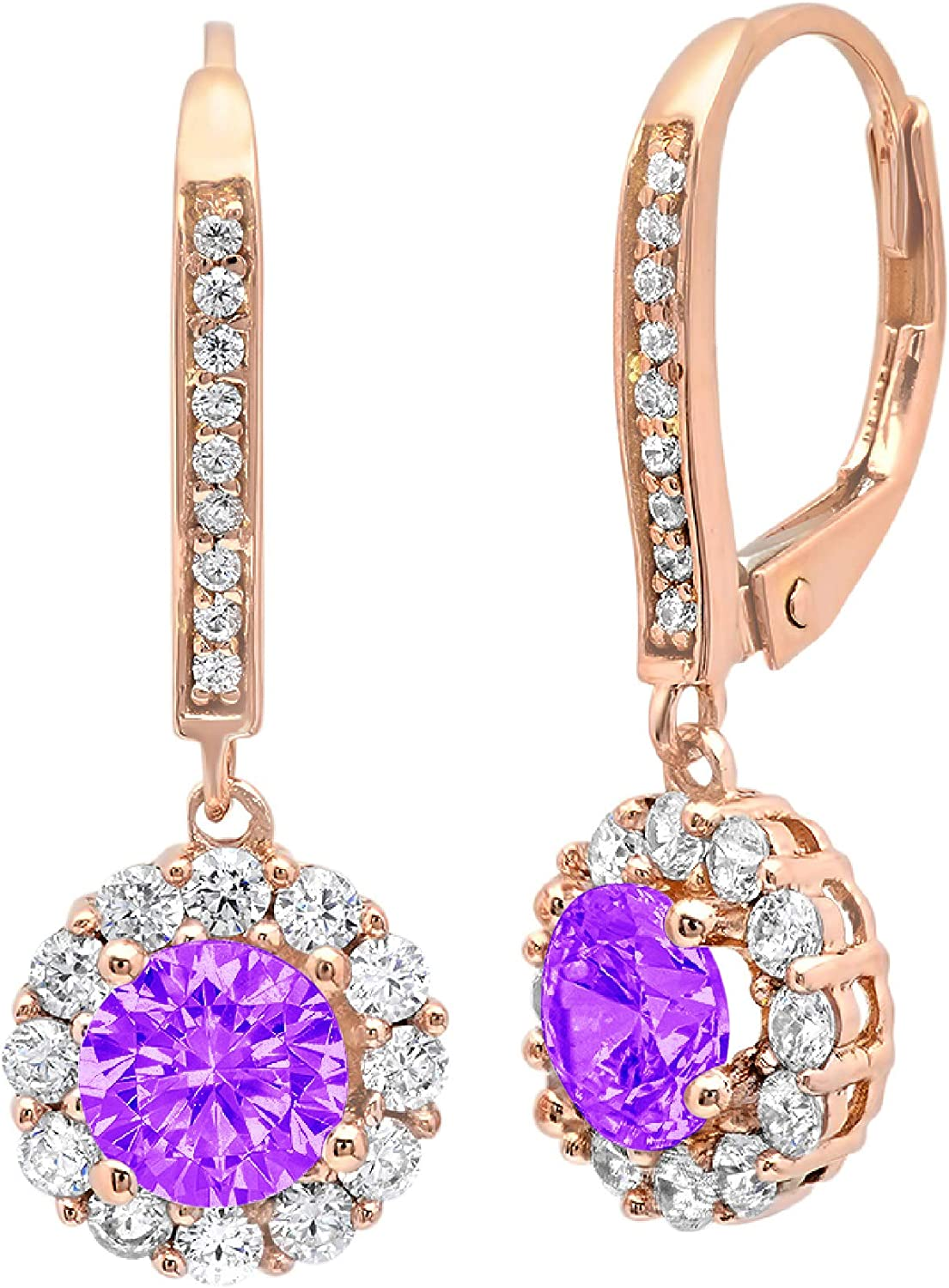 3.55 ct Round Cut ideal VVS1 Conflict Free Gemstone Halo Solitaire Natural Purple Amethyst Gem Stone Designer Lever back Drop Dangle Earrings Solid 14k rose Gold