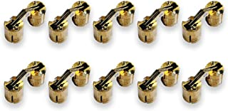 Actopus 10pcs Cylindrical 10mm M10 Brass Barrel Hinge Invisible Cabinet Furniture Hinges Concealed 180 Angle