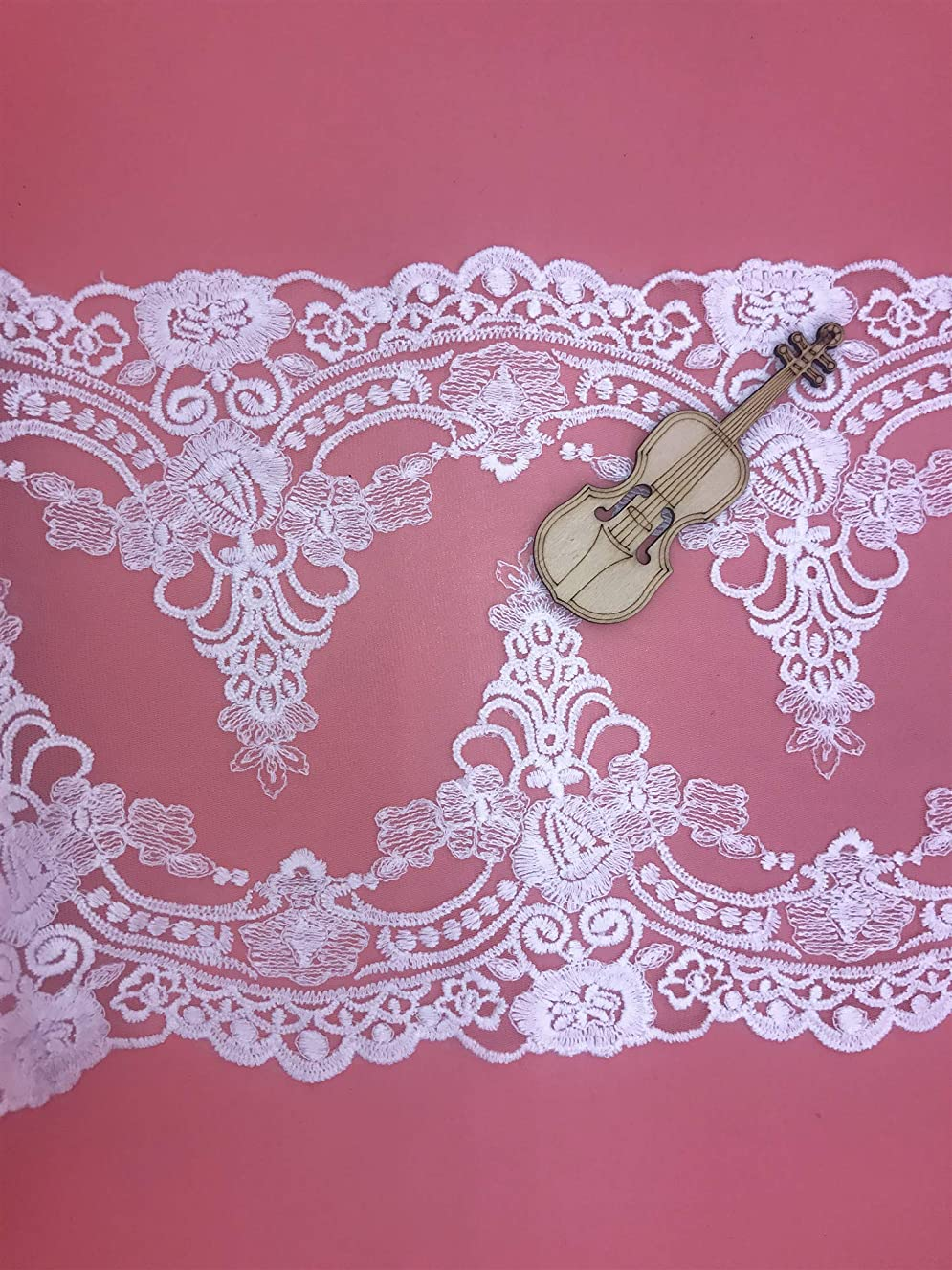 21CM Width Europe Ribbon Wedding Applique Inelastic Embroidery Lace Trim,Curtain Tablecloth Slipcover Bridal DIY Clothing/Accessories.(4 Yards in one Package) (White)