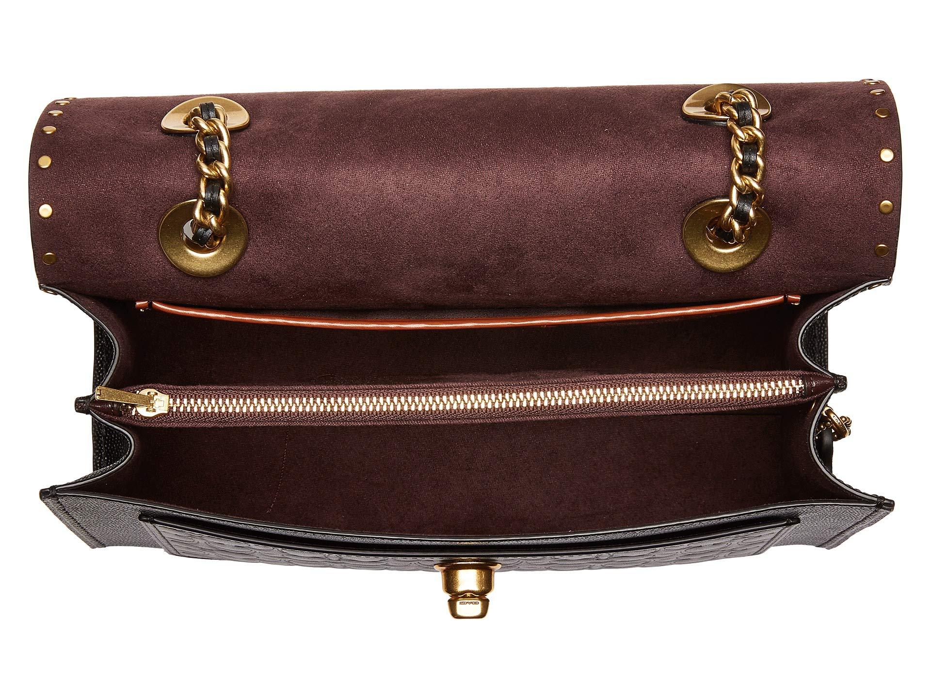 c93364897e9 Bag brass Signure Block Parker Color Shoulder Black Handbags With Grain  Coach Leher 8wd4xqBBv