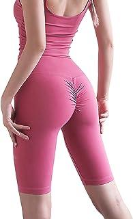 ANIMQUE - Pantalones de yoga cortos para mujer, medias y altas, para entrenamiento, color rosa