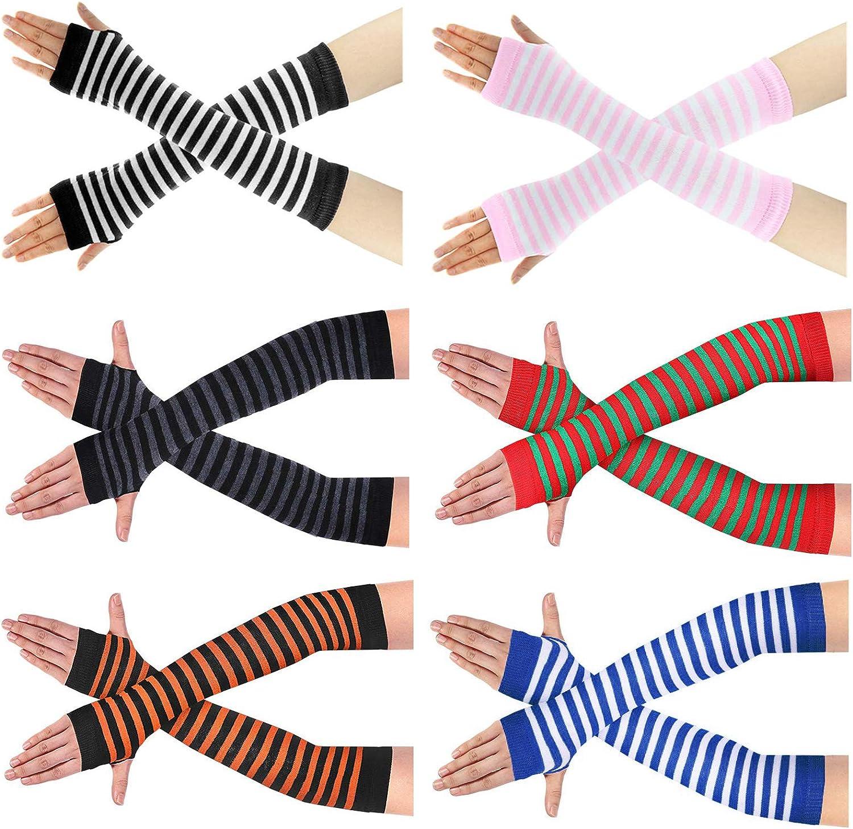6 Pairs Women Striped Arm Warmer Funky Crochet Long Fingerless Glove Christmas