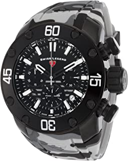 Swiss Legend 10617Sm-Bb-01 Lionpulse Chronograph Grey Camo Silicone Black Dial Watch