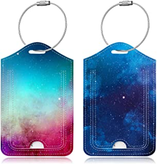 Famavala 2x Luggage Tags [Labels w/Privacy Cover] for Travel Bag Suitcase (BlueSky+GalaPink)