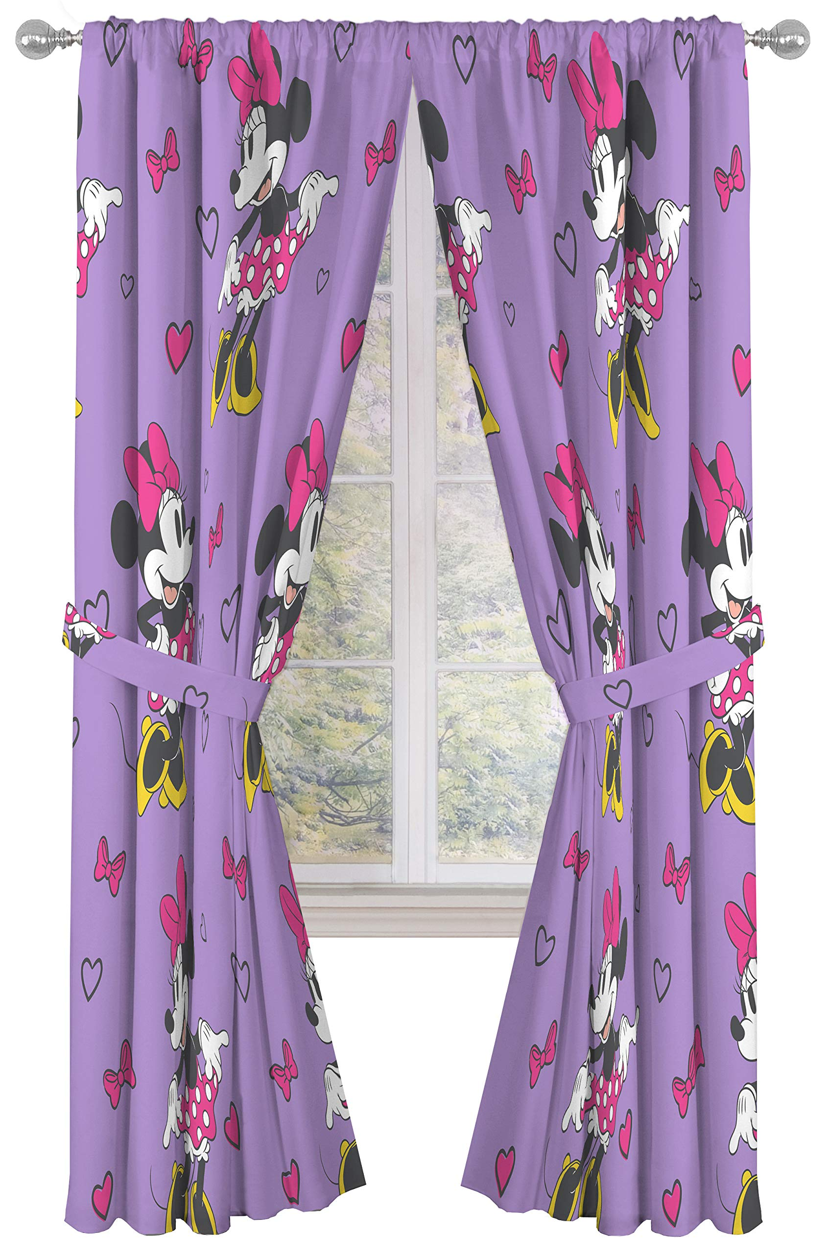 "Disney Minnie Mouse Window Panels Curtains Drapes Pink Bow-tique 42/"" x 63/"" each"