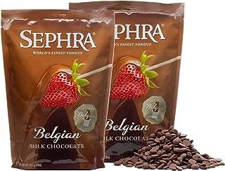 Sephra Belgian Milk Chocolate Fondue Chocolate Belgium, Kosher Dairy, Gluten and Trans Fat Free Belgian Chocolate for Chocolate Fountains, Belgian Chocolate Fondue, Chocolate Chips for Baking (4 LBS)
