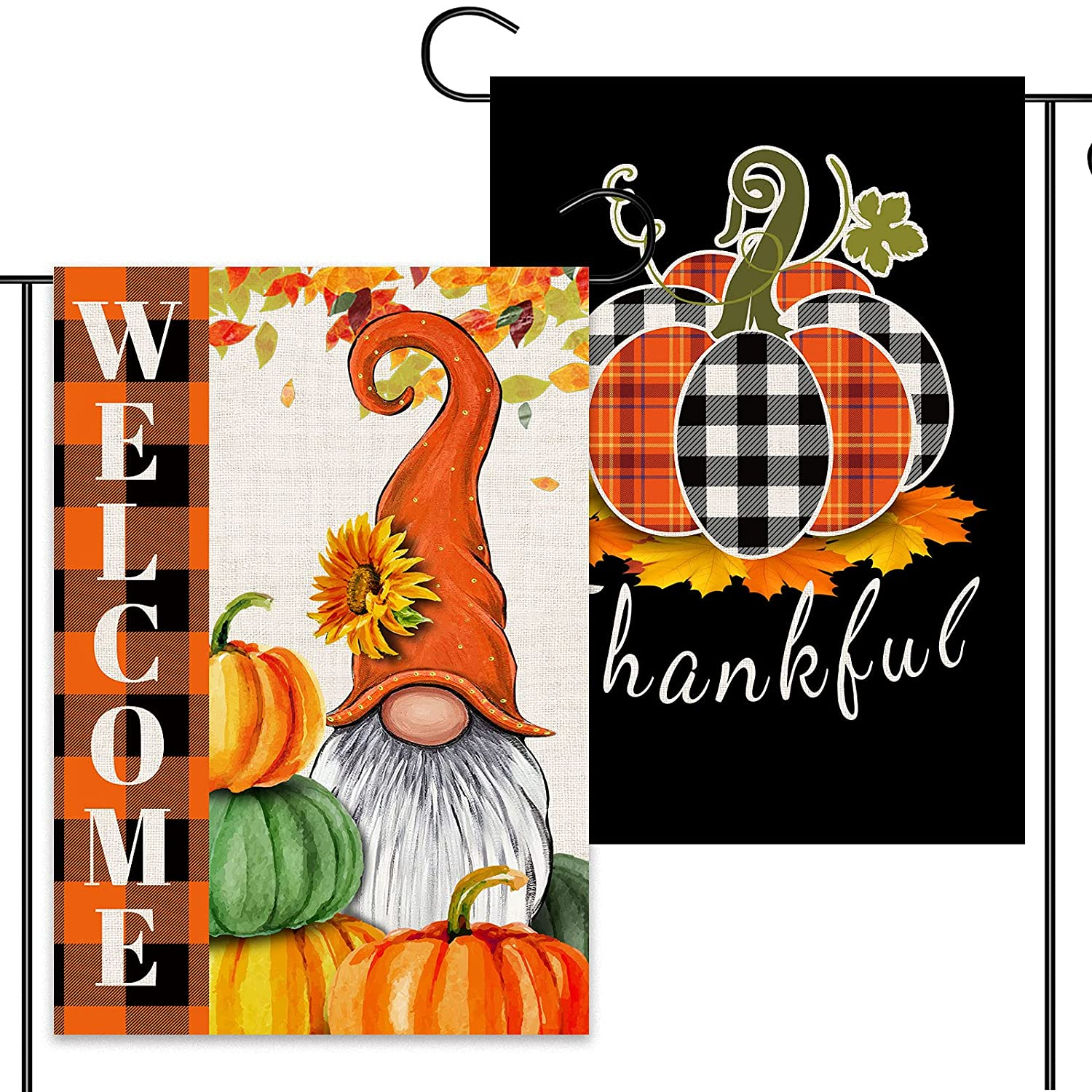 2 Pcs Harvest Fall Garden Flags 12x18 Double Sided, Burlap Buffalo Plaid Gnome And Black Base Thankful Pumpkin Garden Flags, Thanksgiving Outdoor Decorations Harvest Farmhouse Welcome Sign