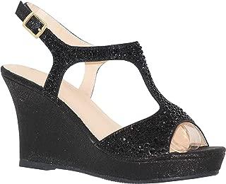 MVE Shoes Women's Open Toe Glitter Wedges Adjustable Strap
