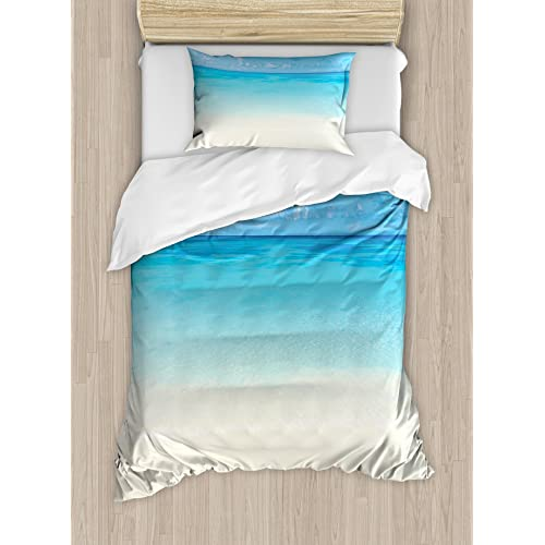 Ambesonne Ocean Duvet Cover Set Twin Size, Paradise Beach In Tropical  Caribbean Sea With Fantastic