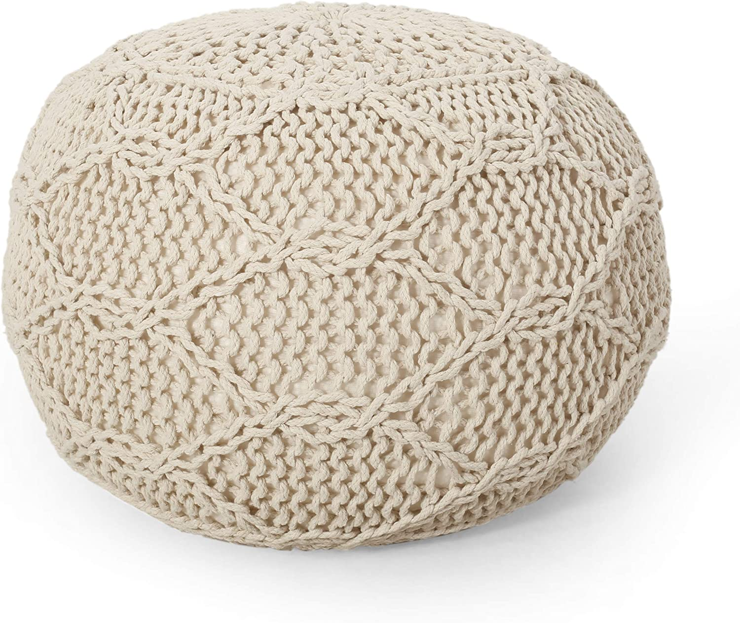 Christopher Knight Outlet SALE Home Pouf Ivory Quality inspection Morven