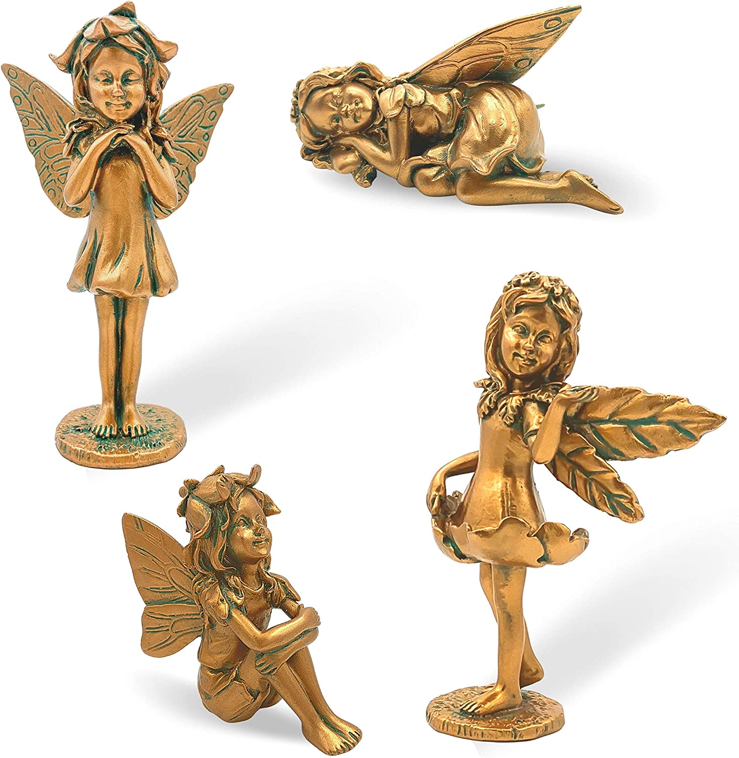 Set of 4 Garden Fairy Statue Now free shipping Outdoor Super-cheap Figurine Poly Resin