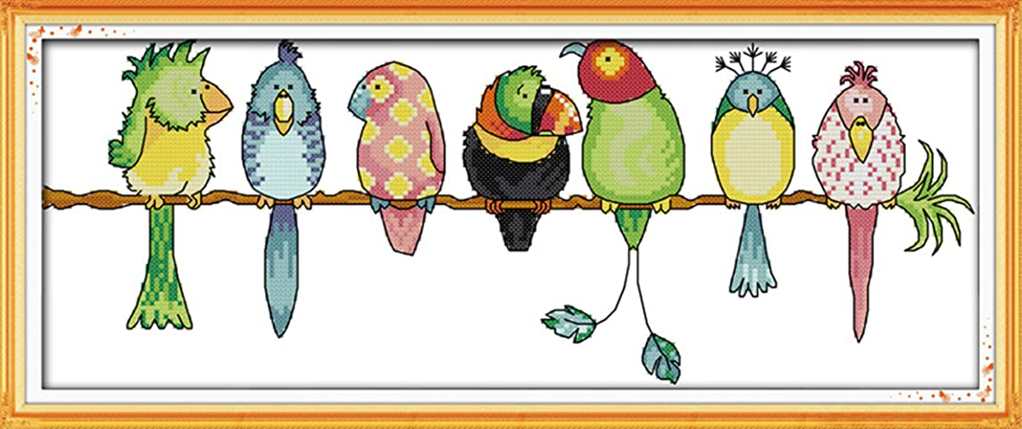 """eGoodn Cross Stitch Stamped Kit Pre-Printed Pattern Colorful Parrots, 11CT Aida Fabric Size 22.4"""" x 9.4"""