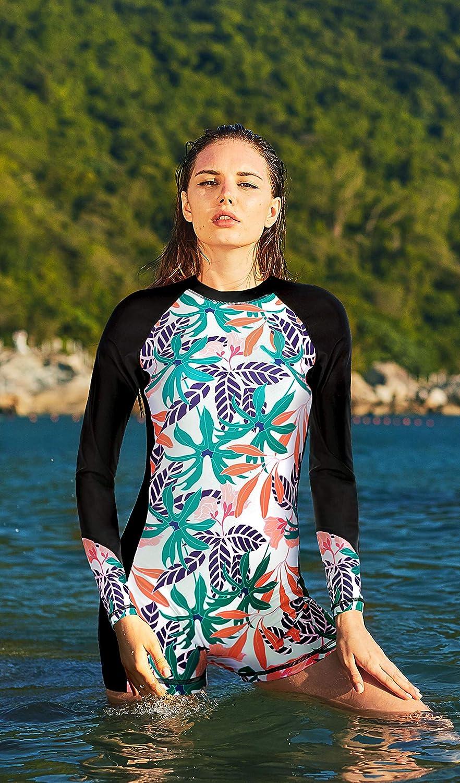 ATTRACO UPF 50 Long Sleeve Rashguard Boyshort One Piece Swimsuits Zip Up Swimsuit