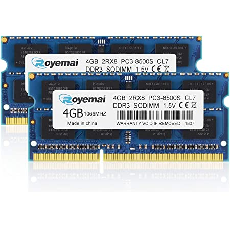 ROYEMAI 8GB Kit (2x4GB) PC3-8500 DDR3 1067MHz/1066MHz RAM Upgrade for Late 2008, Early/Mid/Late 2009, Mid 2010 MacBook, MacBook Pro, iMac, Mac Mini