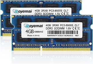PC3-8500, ROYEMAI 8GB DDR3 (2x4GB) 4GB 2Rx8 1066mhz 204 pin 1.5V CL7 DDR3 1066 Sodimm RAM Memory for Laptop