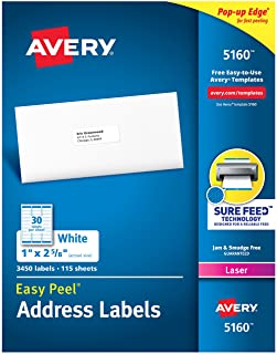 Avery Mailing Address Labels, Laser Printers, 3,450 Labels, 1 x 2-5/8, Permanent Adhesive, FBA Labels (5160)