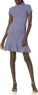 Lark & Ro Vestido de Manga Corta con Cuello de Embudo Vestido Casual de Negocios para Mujer