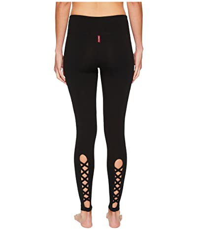 Hard Tail Flat Waist Lace Back Leggings (Black) Women